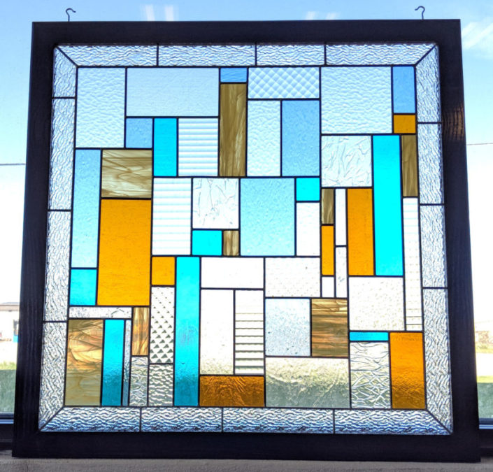 Framed Abstract Leaded Panel